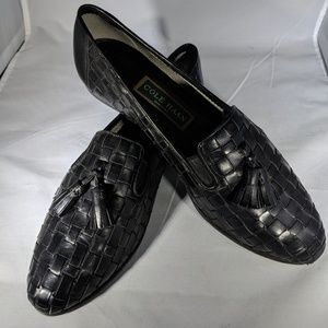 Cole Haan Black Leather Weaved Loafers